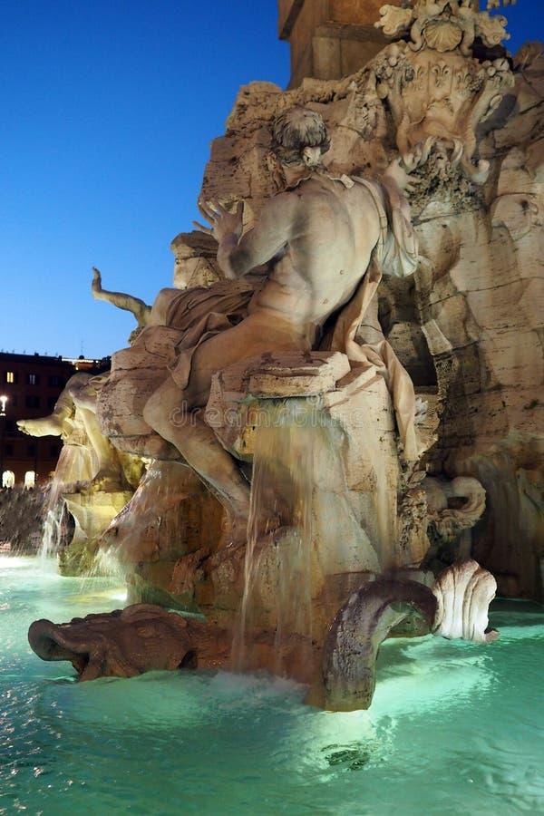 Fontanna Cztery rzeki w piazza Navona w Rzym, W?ochy zdjęcie stock
