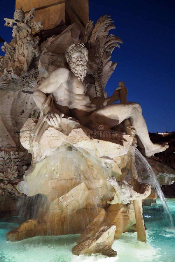 Fontanna Cztery rzeki w piazza Navona w Rzym, W?ochy obraz stock