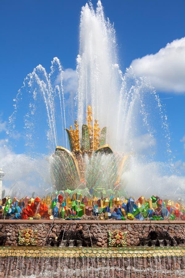Fontanna kamienia kwiat, wystawa osiągnięcia narodowa gospodarka VDNKh w Moskwa, Rosja zdjęcia royalty free