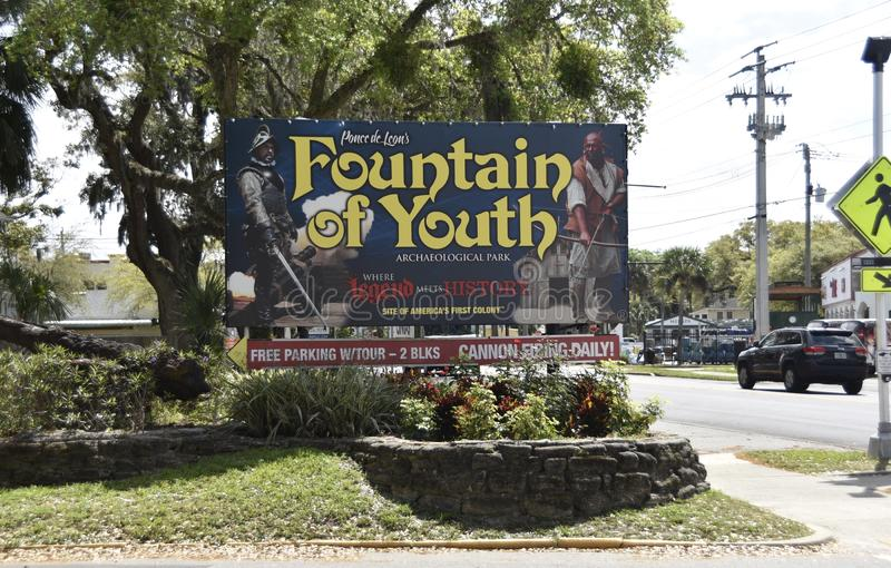 Fontanna młodość Archeologiczny park, Świątobliwy Augustine, Floryda obraz royalty free