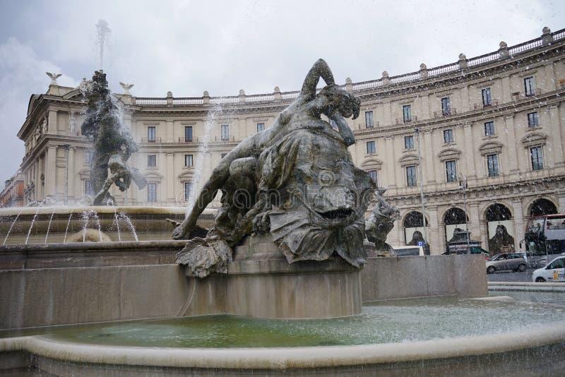 Fontanna najady na piazza della Repubblica w Rzym fotografia royalty free