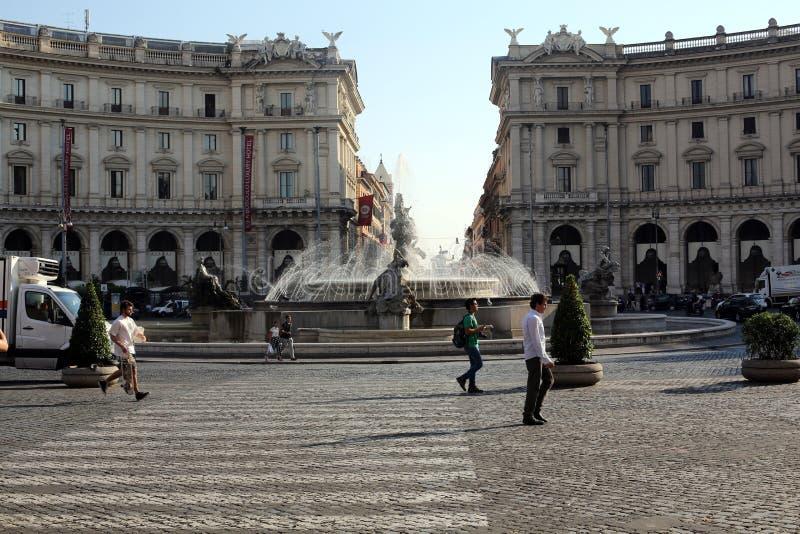 Fontanna najady na piazza della Repubblica w Rzym zdjęcie royalty free