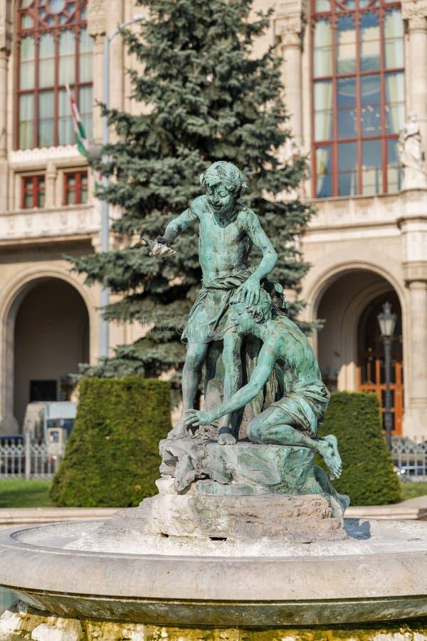 Fontanna przed Vigado filharmonią Budapest, Węgry zdjęcia stock