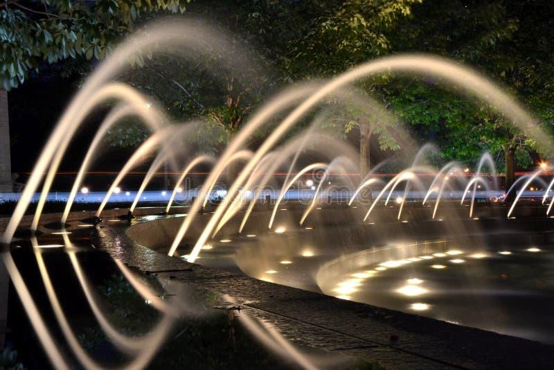 Fontanna przy nocą obraz royalty free
