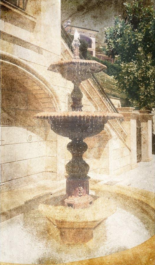 fontanna Wizerunek w rocznika stylu ilustracja wektor