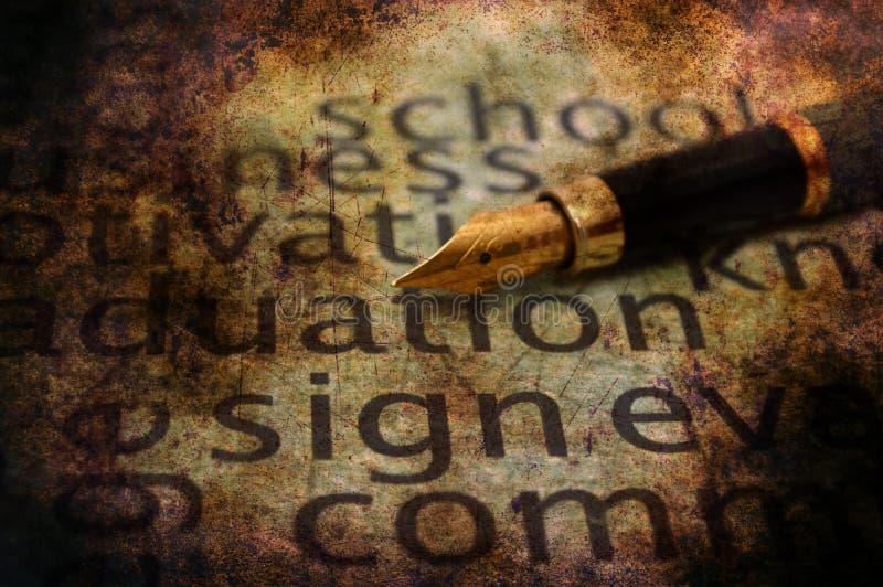 Fontanna znaka i pióra teksta grunge pojęcie ilustracja wektor