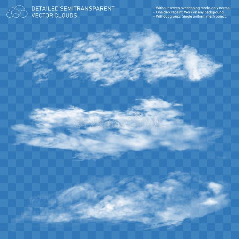 Fontanny chmury set Realistyczny parowy przejrzysty przepływ royalty ilustracja