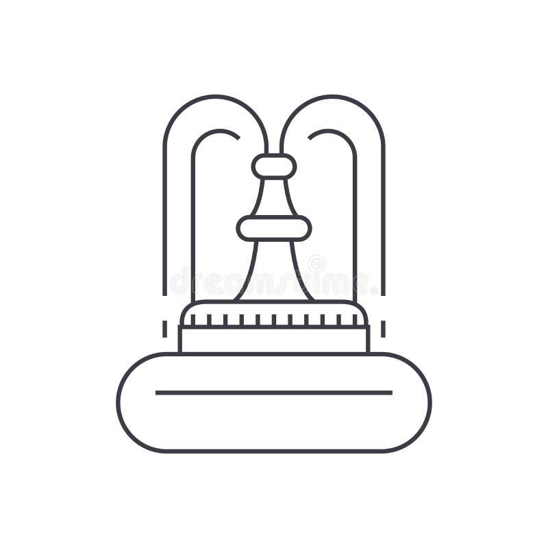 Fontanny ikony cienki kreskowy pojęcie Fontanna wektoru liniowy znak, symbol, ilustracja ilustracji
