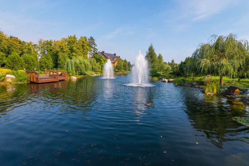 Fontanny nad błękitnym jeziorem z dzikimi kaczkami i drewnianym mostem Novi Petrivtsi, Ukraina zdjęcie stock