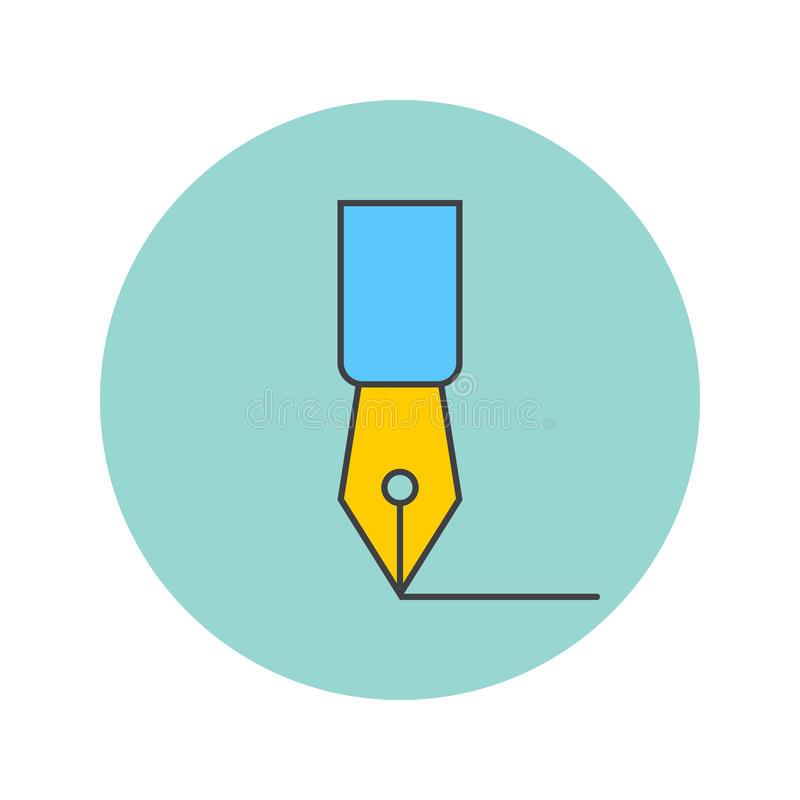 Fontanny pióra cienka kreskowa ikona, pisze wypełniającemu konturowi wektorowym logu il ilustracji