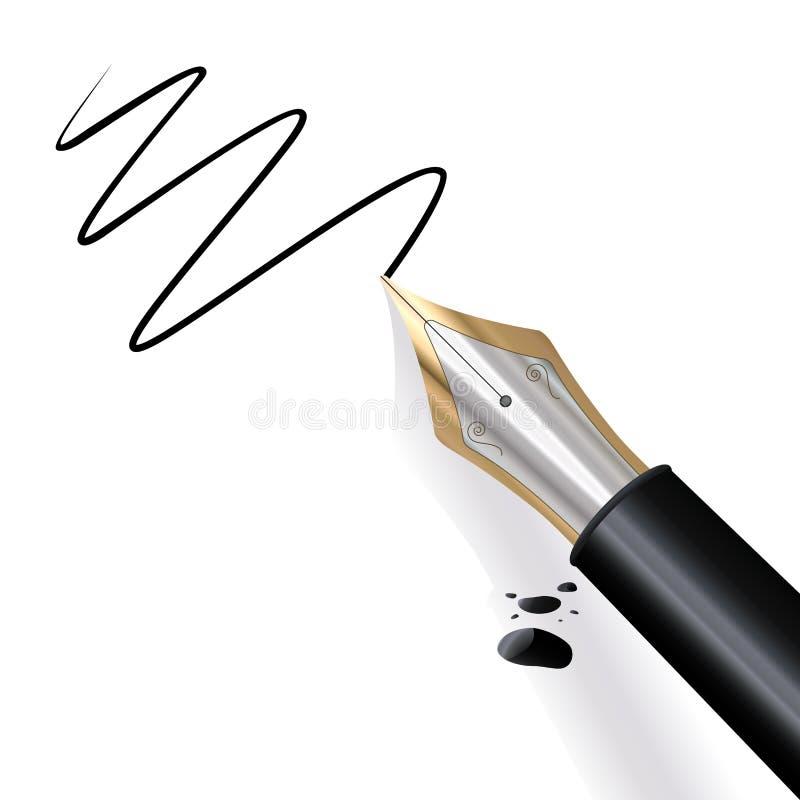 fontanny pióra writing royalty ilustracja