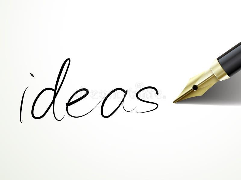 Fontanny pióra writing pomysły nad dokumentem ilustracja wektor