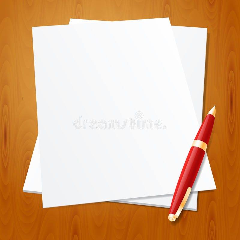 Fontanny pióro z papierem ilustracji