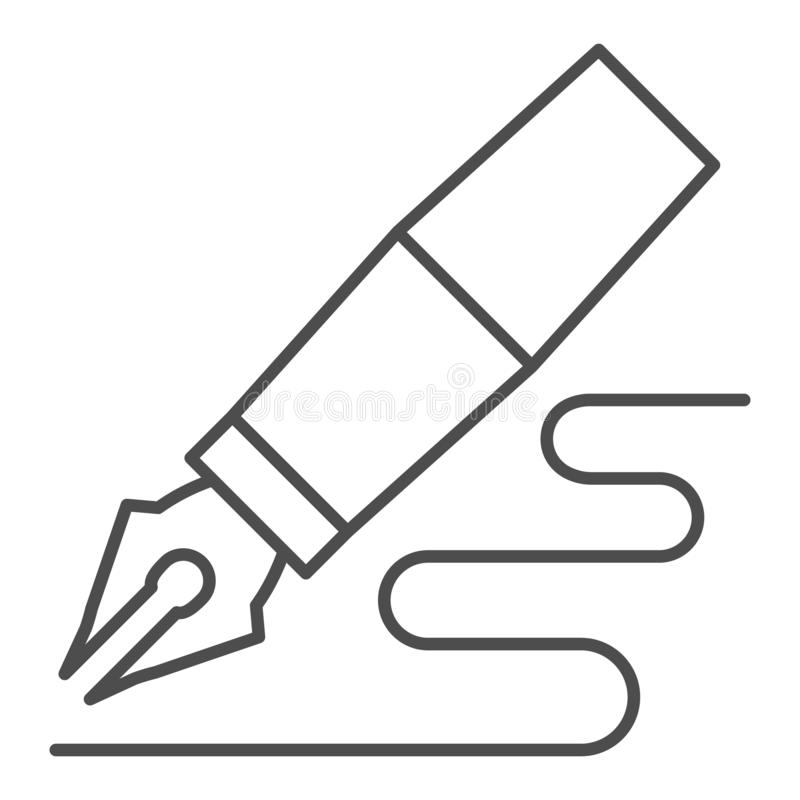 Fontanny pi?ra cienka kreskowa ikona Pi?rkowej pi?ro rysunku linii wektorowa ilustracja odizolowywaj?ca na bielu Pióro pisze kont ilustracja wektor
