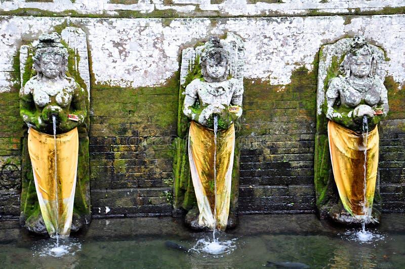 Fontanny w Goa Gajah świątyni w Ubud bali piękny Indonesia wyspy kuta mężczyzna bieg kształta zmierzchu miasteczko widoczny zdjęcie royalty free