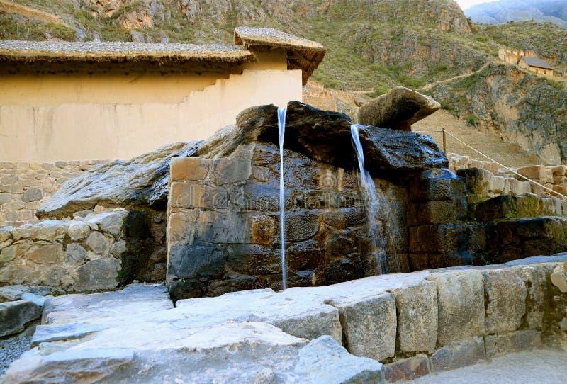 Fontanny Wodna świątynia Wciąż w Oryginalnym stanie inka imperium, Ollantaytambo Forteczne ruiny, Cusco, Peru zdjęcie stock