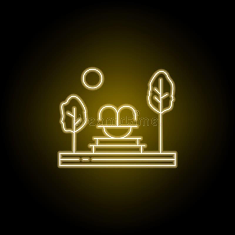 Fonte, árvores, linha ícone do jardim no estilo de néon amarelo Elemento da ilustra??o das paisagens Os sinais e os símbolos alin ilustração royalty free