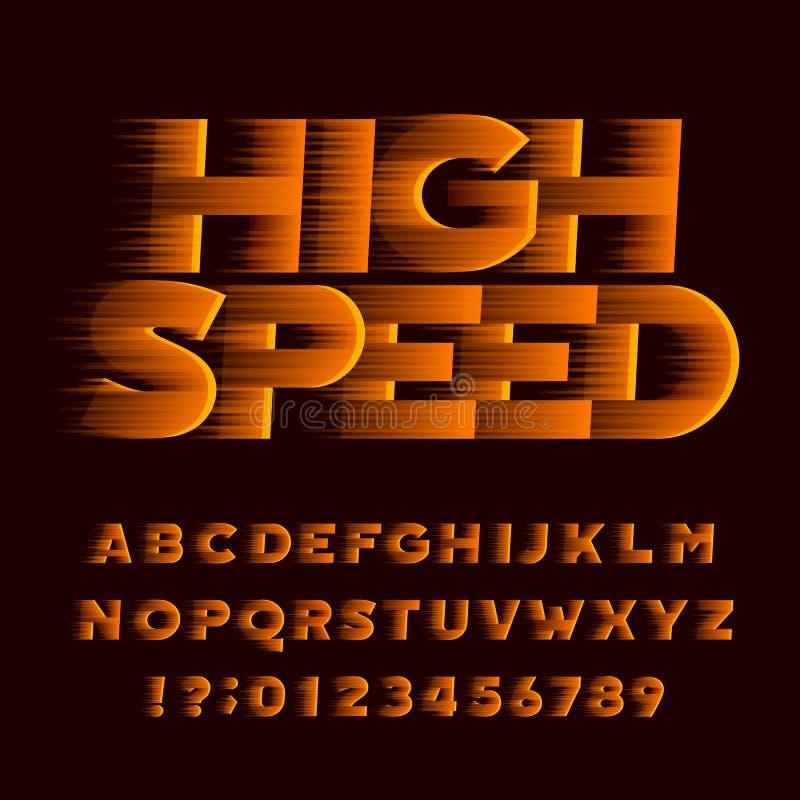 Fonte ad alta velocità di alfabeto Tipo obliquo lettere e numeri di effetto di vento royalty illustrazione gratis