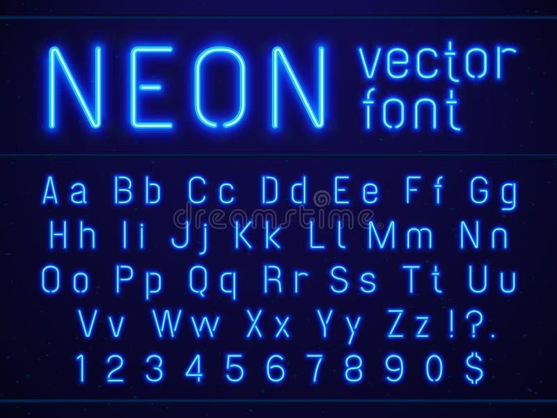 Fonte al neon blu d'ardore luminosa delle lettere e di numeri di alfabeto Spettacoli di vita notturna, barre moderne, casinò illu royalty illustrazione gratis
