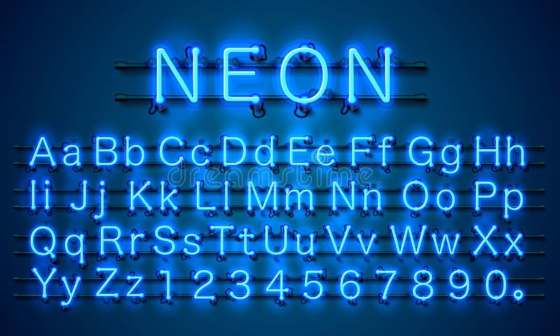 Fonte al neon del blu di colore della città Segno di alfabeto inglese illustrazione vettoriale