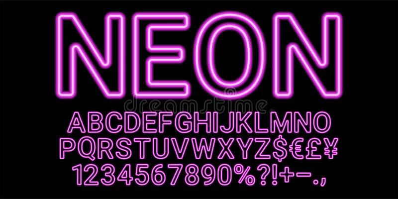 Fonte al neon nel colore porpora royalty illustrazione gratis