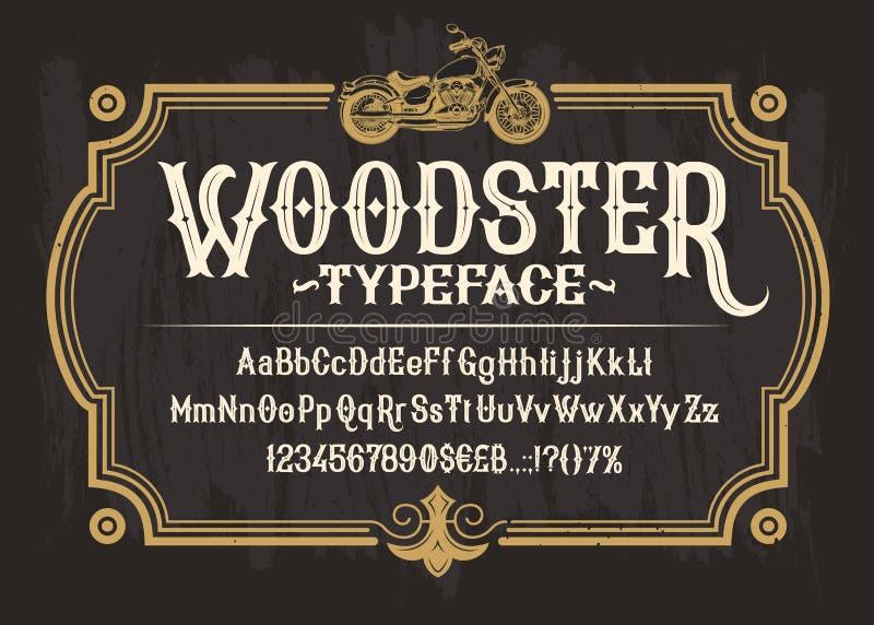 Fonte, alfabeto, números e símbolos brancos do serif ilustração royalty free