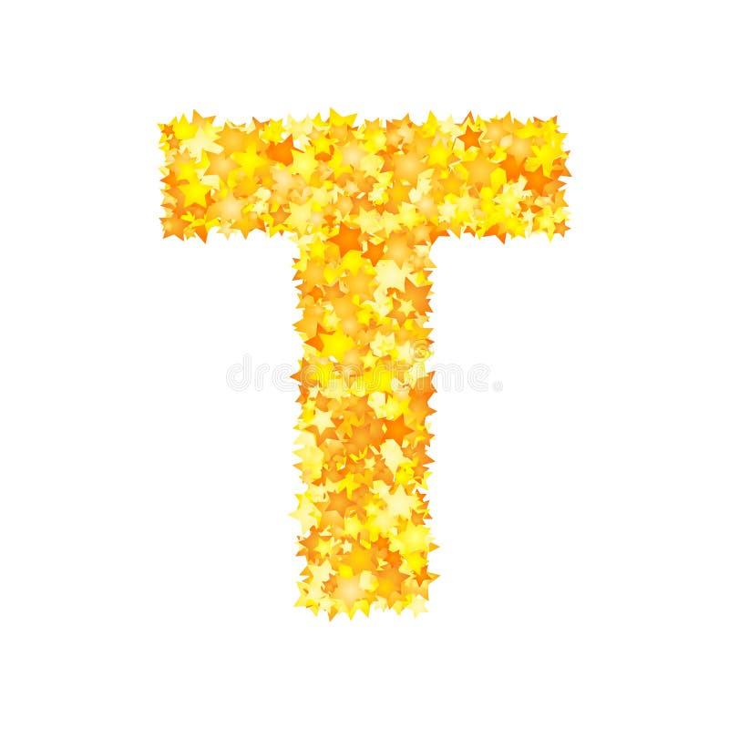 Fonte amarela das estrelas do vetor, letra T ilustração royalty free