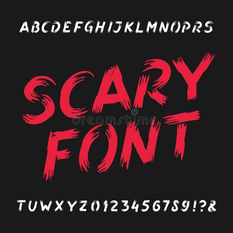 Fonte assustador do alfabeto Letras, números e símbolos sujos ilustração stock