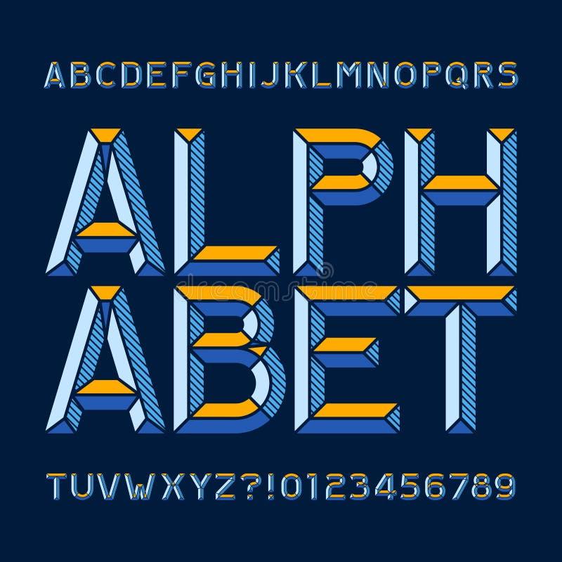 Fonte astratta di alfabeto Scriva le lettere ed i numeri a macchina illustrazione di stock