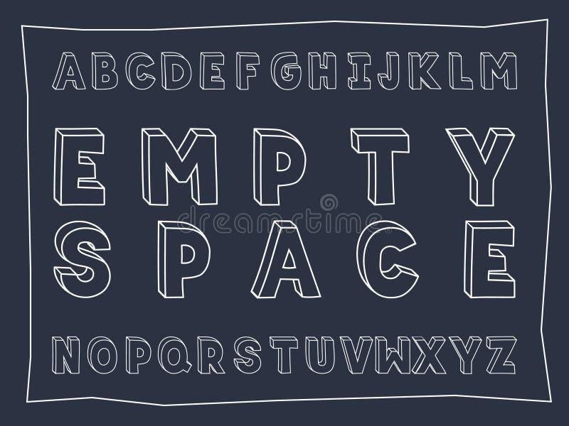 Fonte audace scritta a mano dello spazio vuoto illustrazione di stock