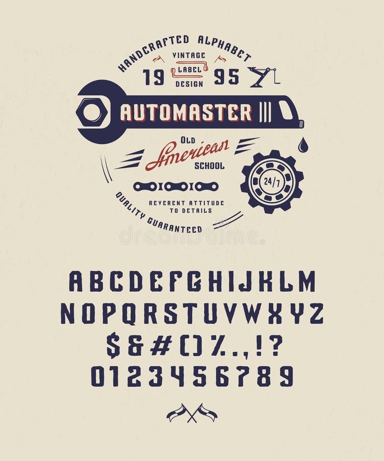 Fonte Automaster do vintage ilustração do vetor