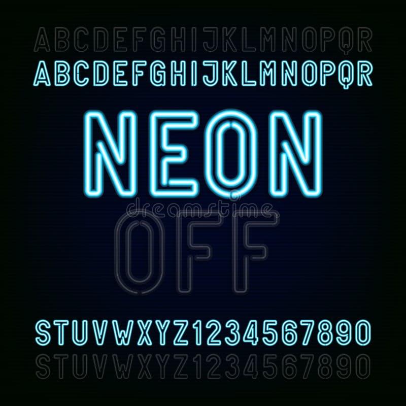 Fonte azul do alfabeto da luz de néon Dois estilos diferentes Ilumina de ligar/desligar Datilografe letras e números ilustração royalty free