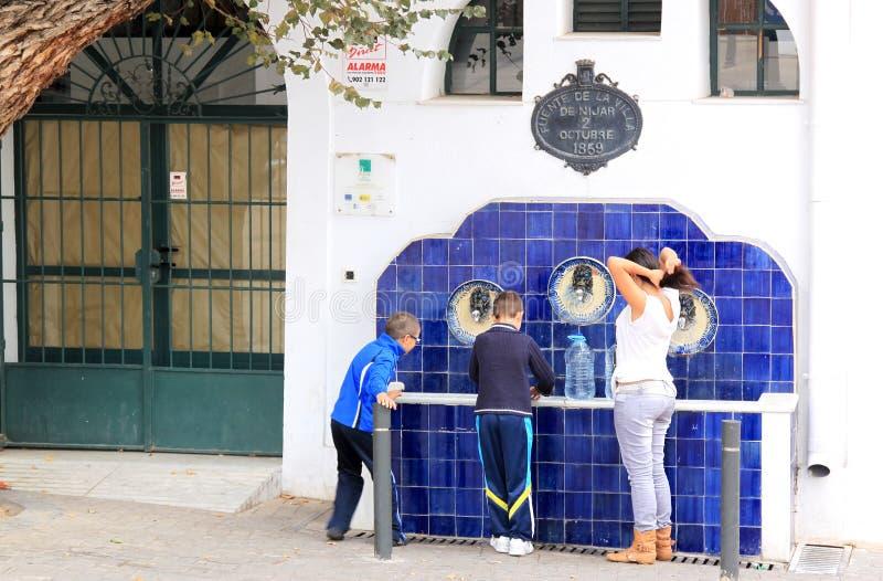 Fonte bebendo espanhola típica em Nijar, Spain fotografia de stock