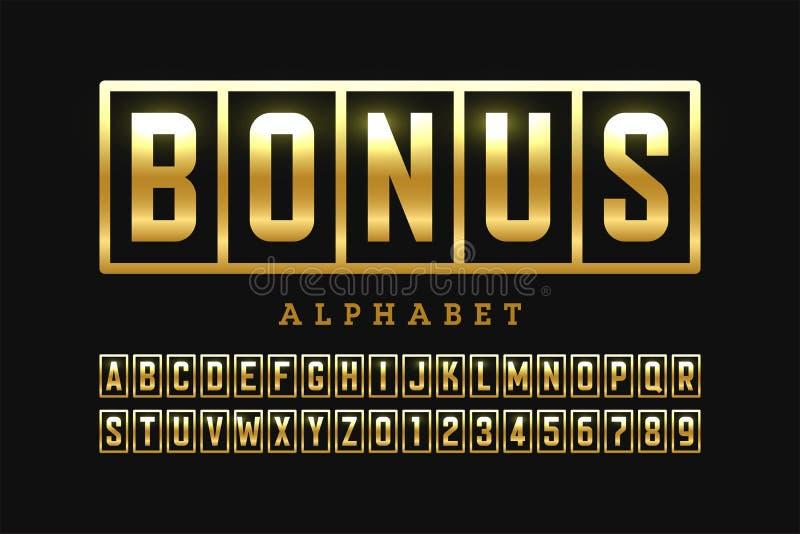 Fonte bem-vinda do projeto da bandeira do casino do bônus ilustração stock
