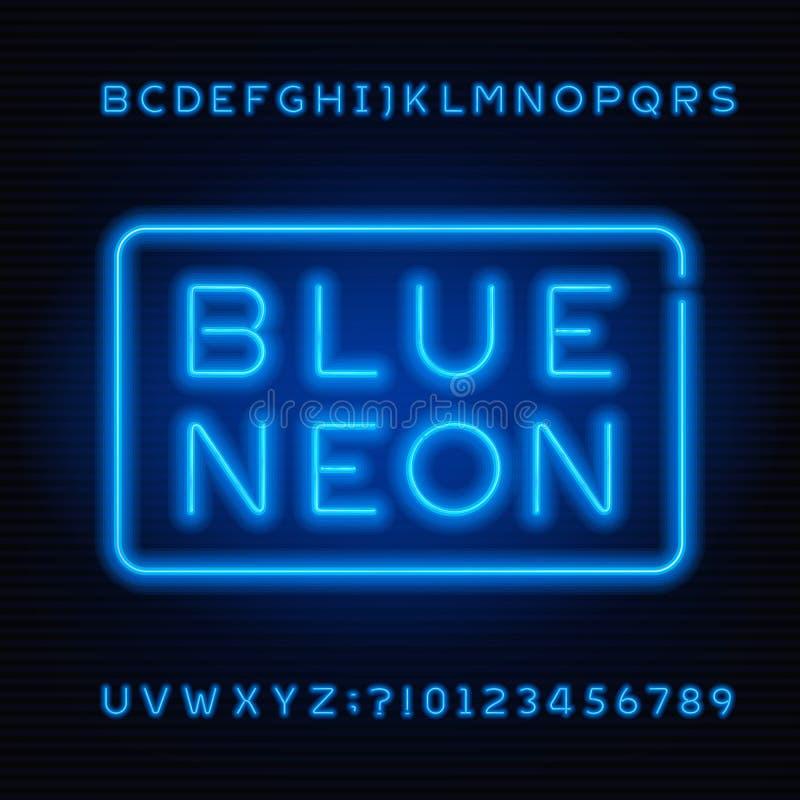 Fonte blu di alfabeto del tubo al neon Lettere audaci e numeri di colore al neon royalty illustrazione gratis
