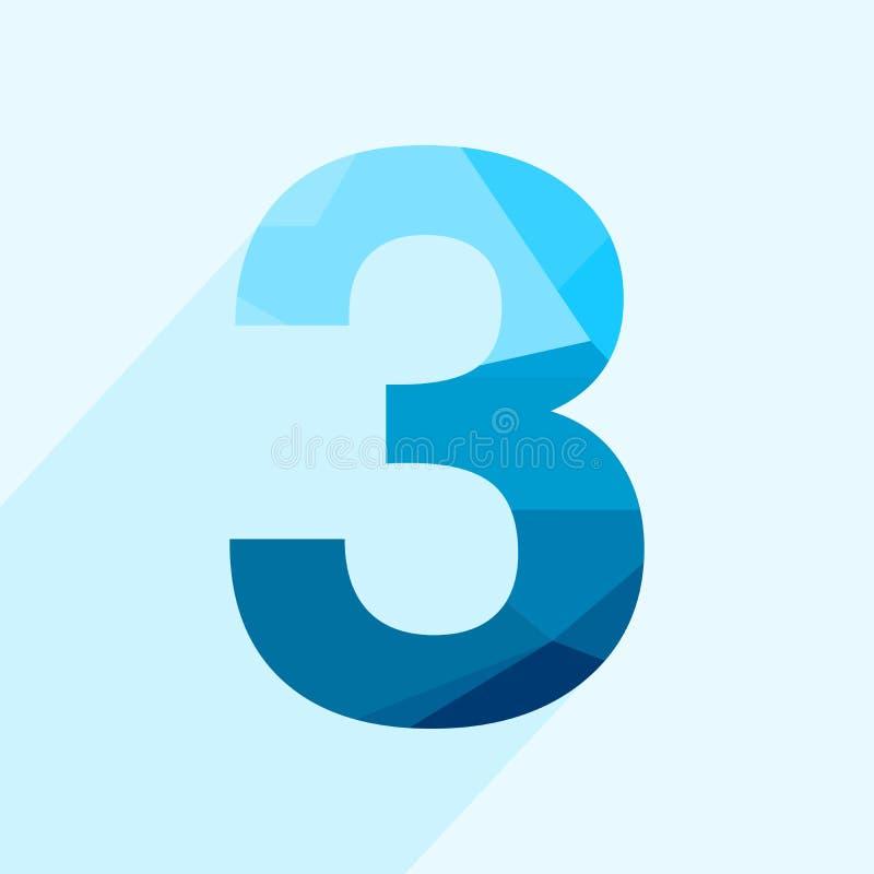 Fonte blu di numeri del poligono tre di vettore con ombra lunga royalty illustrazione gratis