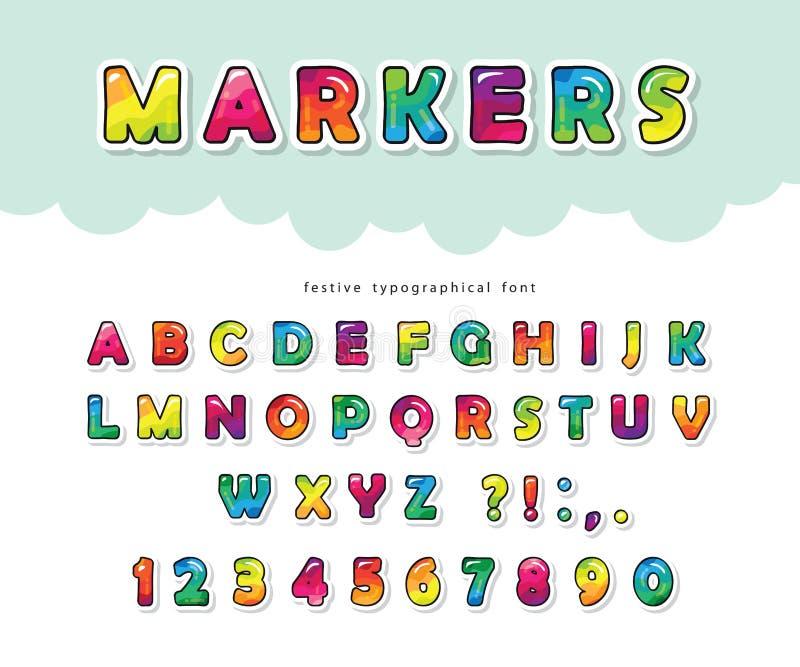 Fonte brilhante dos desenhos animados para crianças Letras e números lustrosos de ABC Papel cortado Pintura com alfabeto colorido ilustração do vetor
