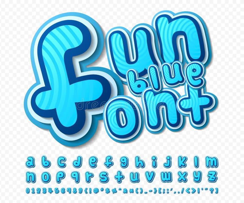 Fonte cômica azul Alfabeto no estilo da banda desenhada, PNF ilustração stock