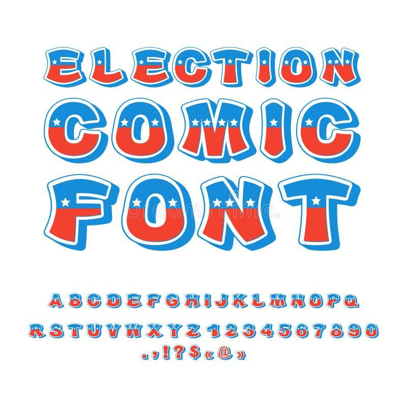 Fonte cômica da eleição Debate político no alfabeto de América EUA N ilustração royalty free