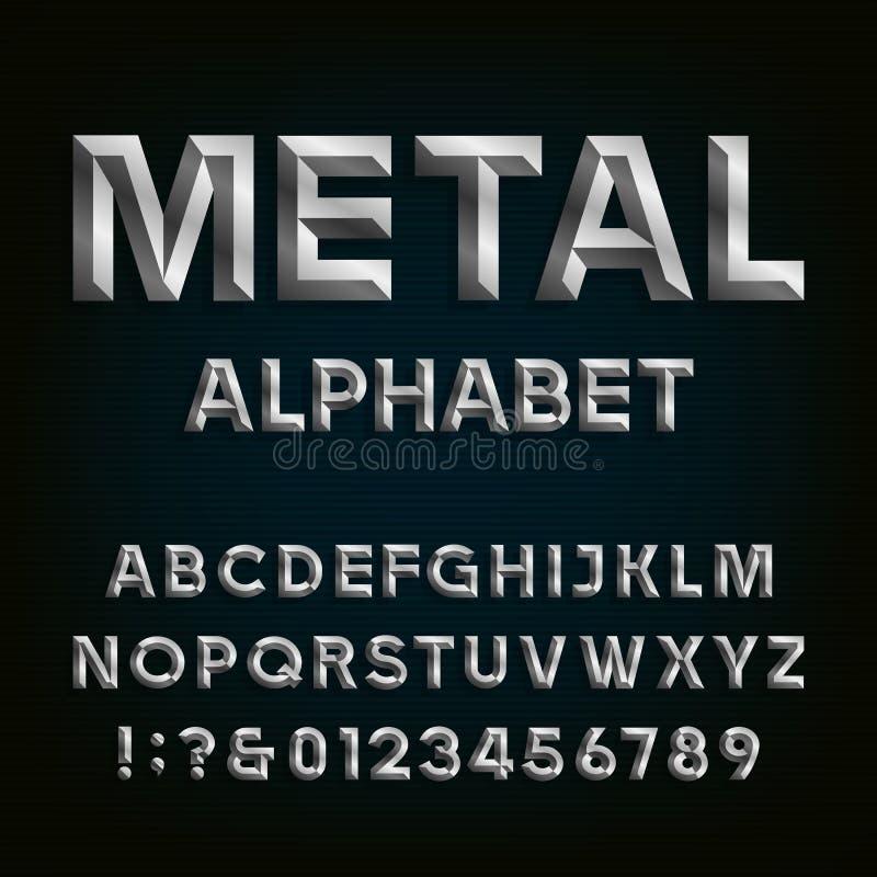 Fonte chanfrada do metal Alfabeto do vetor ilustração do vetor