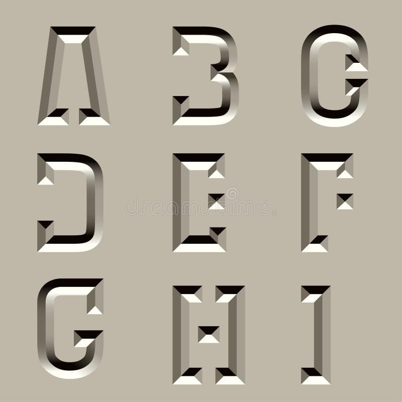 Fonte cinzelada pedra do alfabeto - parte 1 ilustração royalty free