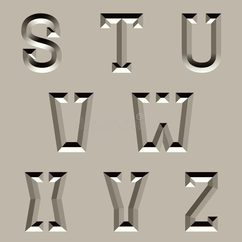 Fonte cinzelada pedra do alfabeto - parte 3 ilustração do vetor