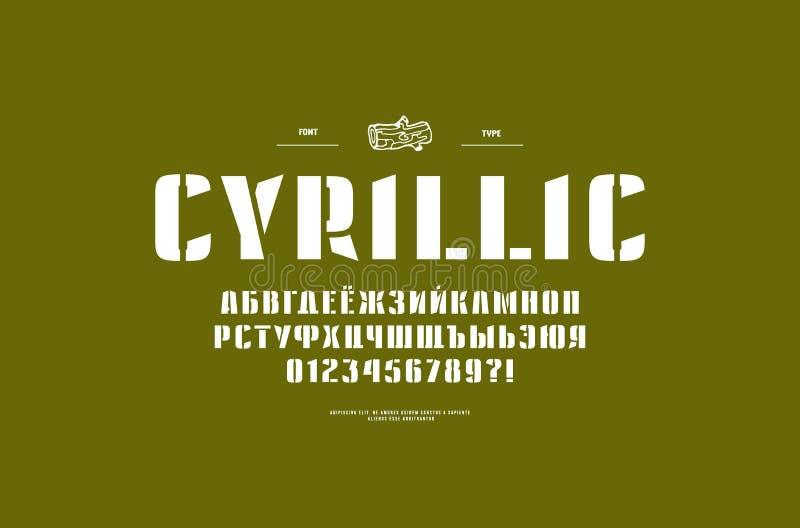 Fonte cirílica de Sans Serif da estêncil-placa ilustração stock