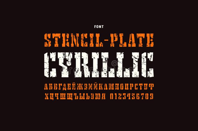 Fonte cirílica do serif da estêncil-placa no estilo ocidental ilustração stock