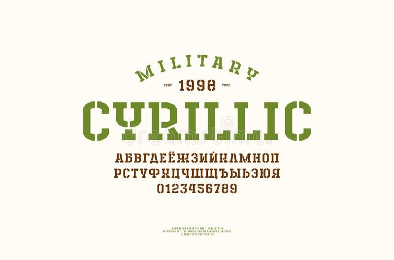 Fonte cirílica do serif da laje da estêncil-placa no estilo do esporte ilustração do vetor