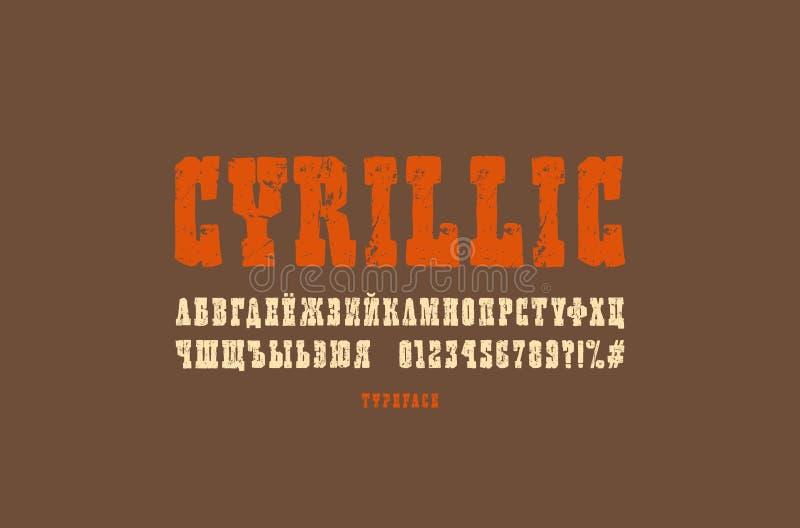 Fonte cirillica dei caratteri tipografici con grazie nello stile dei grafici fatti a mano illustrazione vettoriale