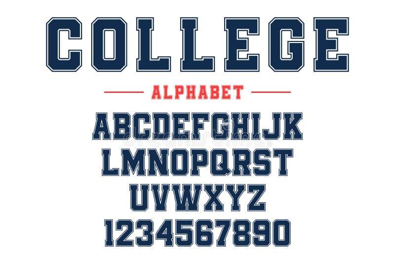 Fonte clássica da faculdade Fonte do esporte do vintage no estilo americano para o futebol, o basebol ou os logotipos e o t-shirt ilustração royalty free