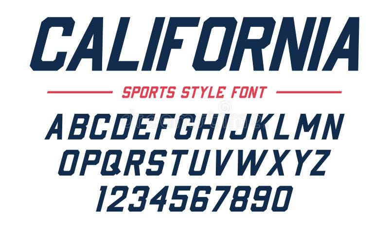 Fonte clássica da faculdade Esporte Sans Serif do vintage, fonte chanfrada no estilo americano para o futebol, futebol, basebol ilustração stock