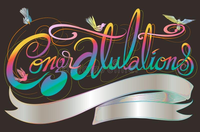 A fonte clássica das felicitações tem pássaros projeto e espaço da cópia ilustração stock