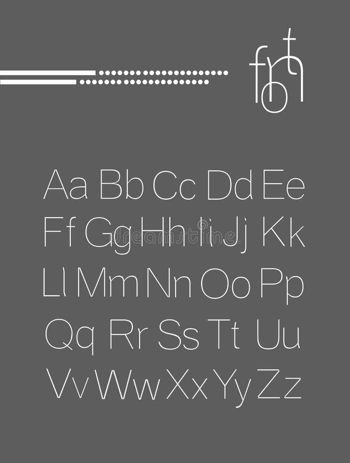 Fonte clara elegante, projeto de letras ilustração royalty free